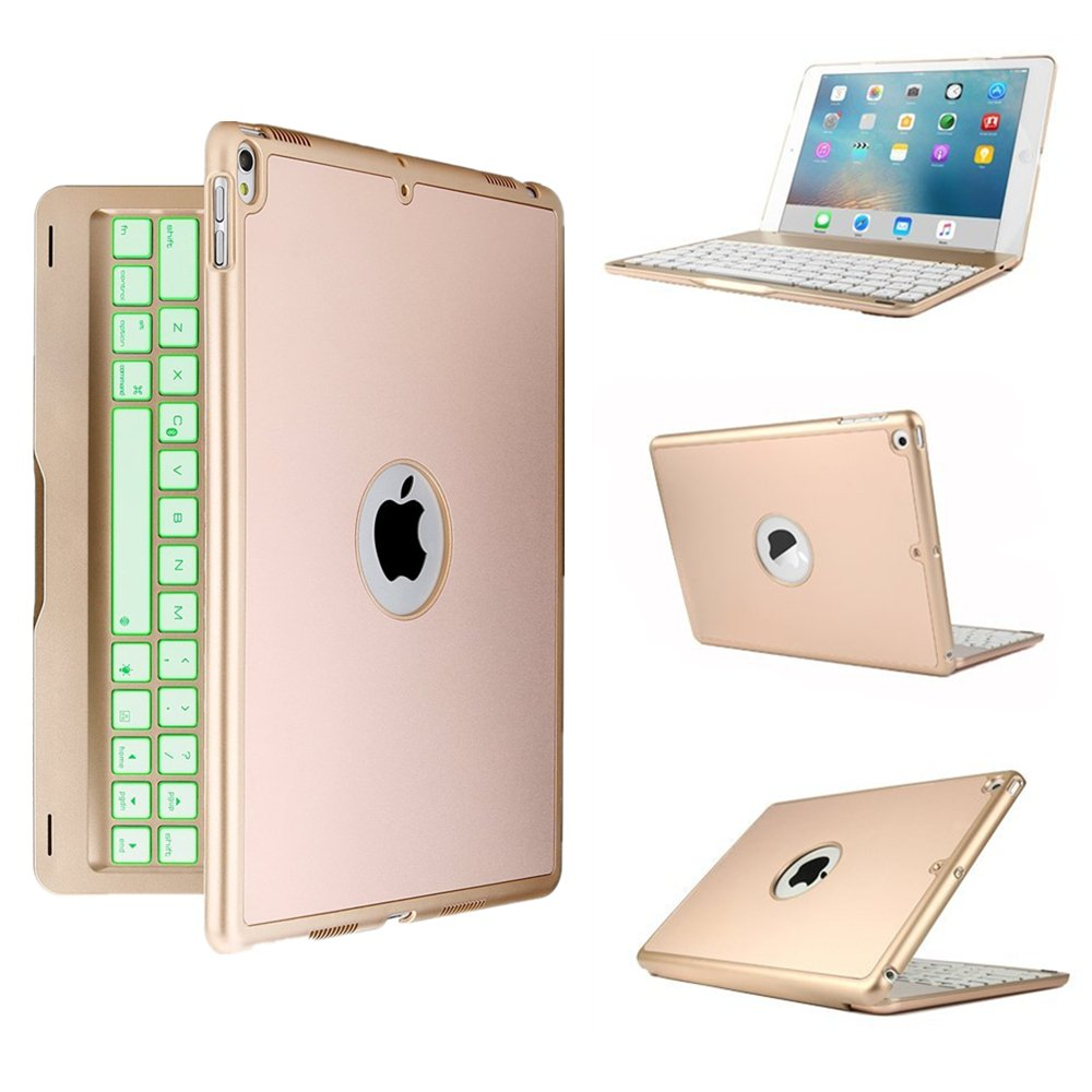 Bluetooth Wireless Keyboard Case for iPad Air 2,TechCode Protective 7 Colors Folio LED Backlit Smart Slim Colorful Keyboard Case With Executive Multi Function Case Cover for iPad Air 2 9.7 inch Tablet