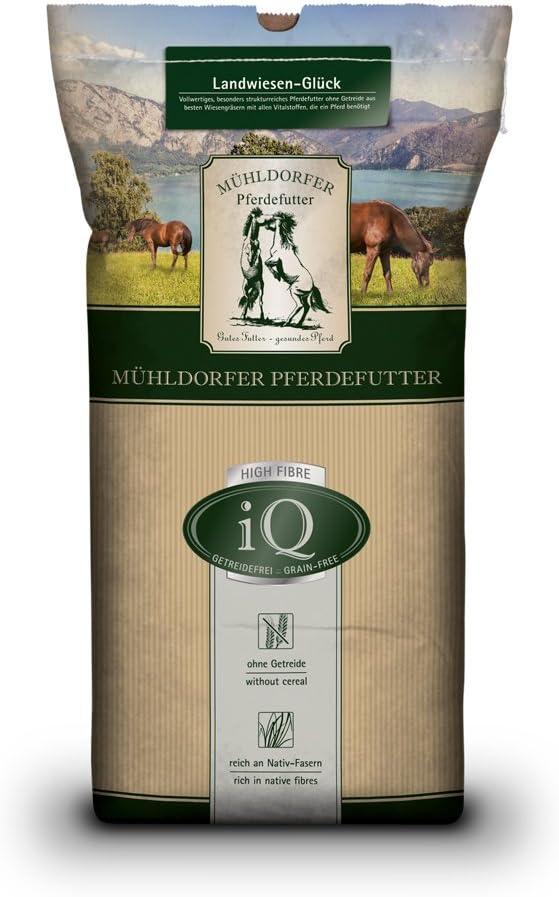Mühldorfer iQ Landwiesen-Glück, 12,5 kg, sin Cereales, sin melaza, para Caballos y ponys