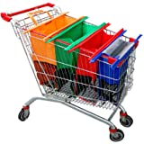 Haiphisi Trolley Bags-4 Pack Reusable Grocery Shopping cart Bags with Cooler Bag-Easy to Use and Heavy Duty-Variety of Colors