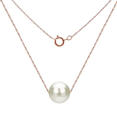 df8b3c1dae693 14K Gold Chain Necklace with Floating White Freshwater Cultured Pearl  Pendant, 18