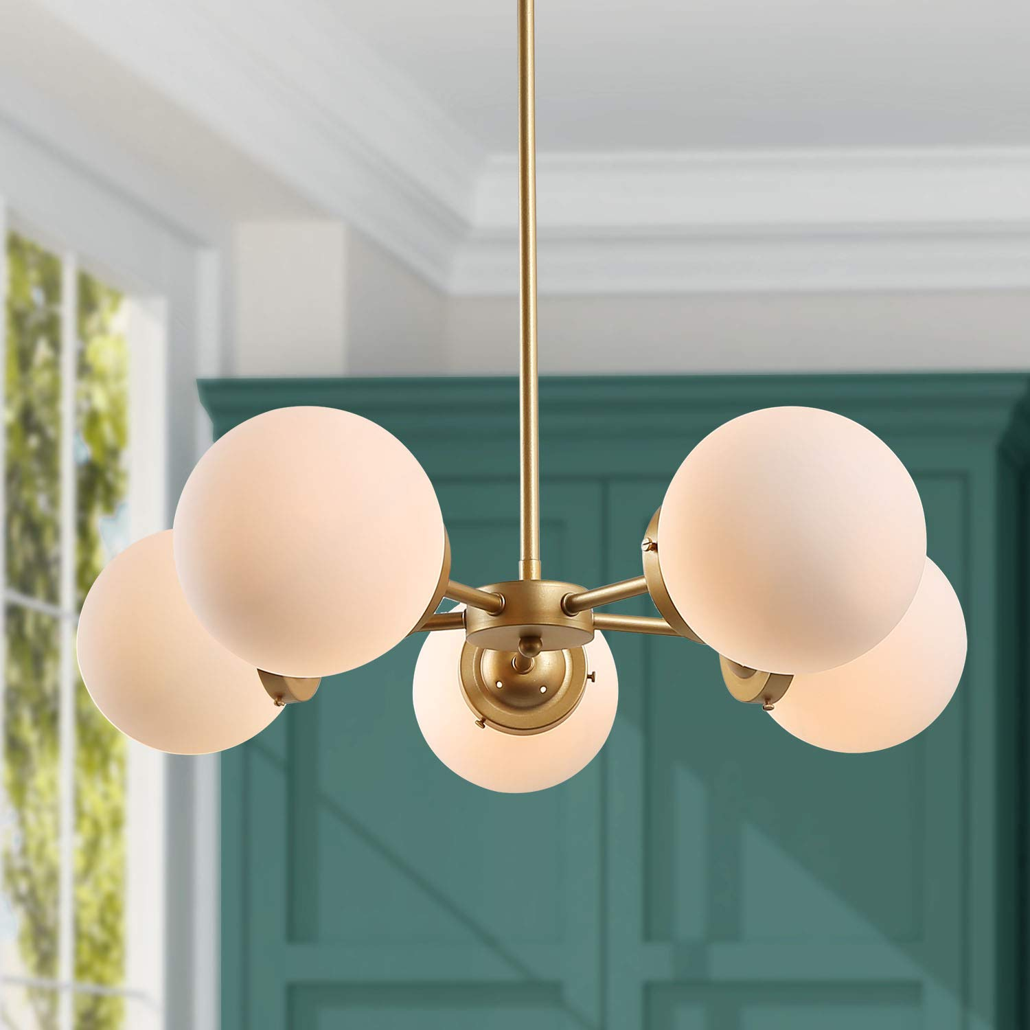 KSANA Gold Chandeliers for Dining Rooms, 5-Light Modern Globe Chandeliers with Frost White Glass Shades, Ceiling Pendant Lighting for Dining Rooms,Bedrooms, Living Room and Entryway
