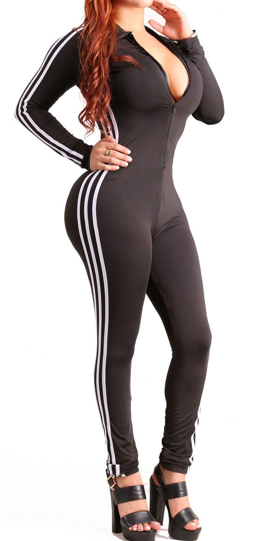 - 61jqh1fKeTL - Bodycon4U Women's Zip Up Sexy Stripes Long Sleeve Sport Bodycon Jumpsuit Romper Zentai Bodysuit Unitard
