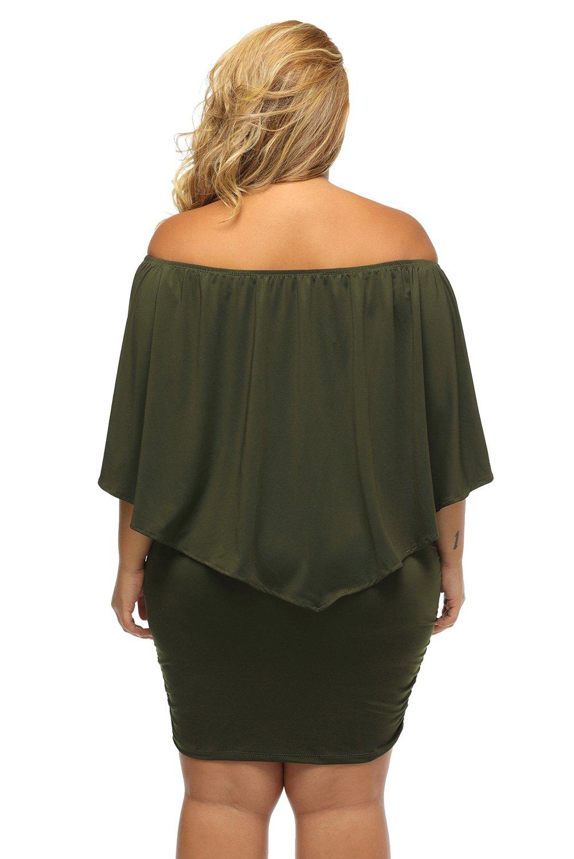 Sidefeel Women Off Shoulder Ruffles Party Mini Dress Medium Green by Sidefeel (Image #5)