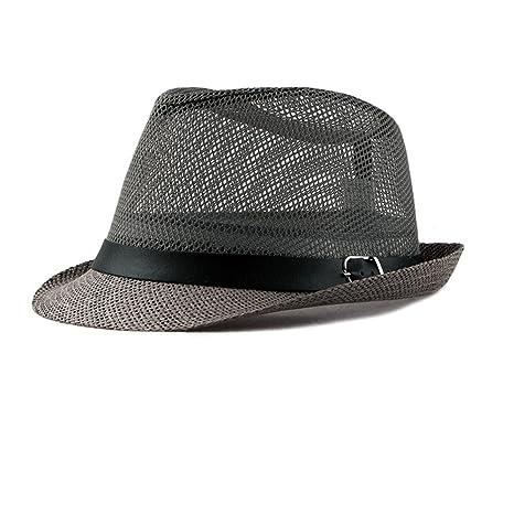 BIGBOBA Fedora sombrero Hombre, paja sombrero Panama Gangster sombrero sombrero con cinta de tela Street Style, Color - 2, 56…