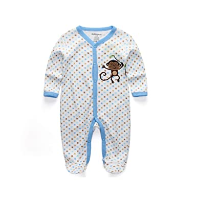 kiddiezoom Baby Boy pijamas de pijama Pelele para bebé body poco Mono playsuits Babe Jumpsuits inocentes ropa White,Blue,Bronze Talla:7-9Months: Amazon.es: ...