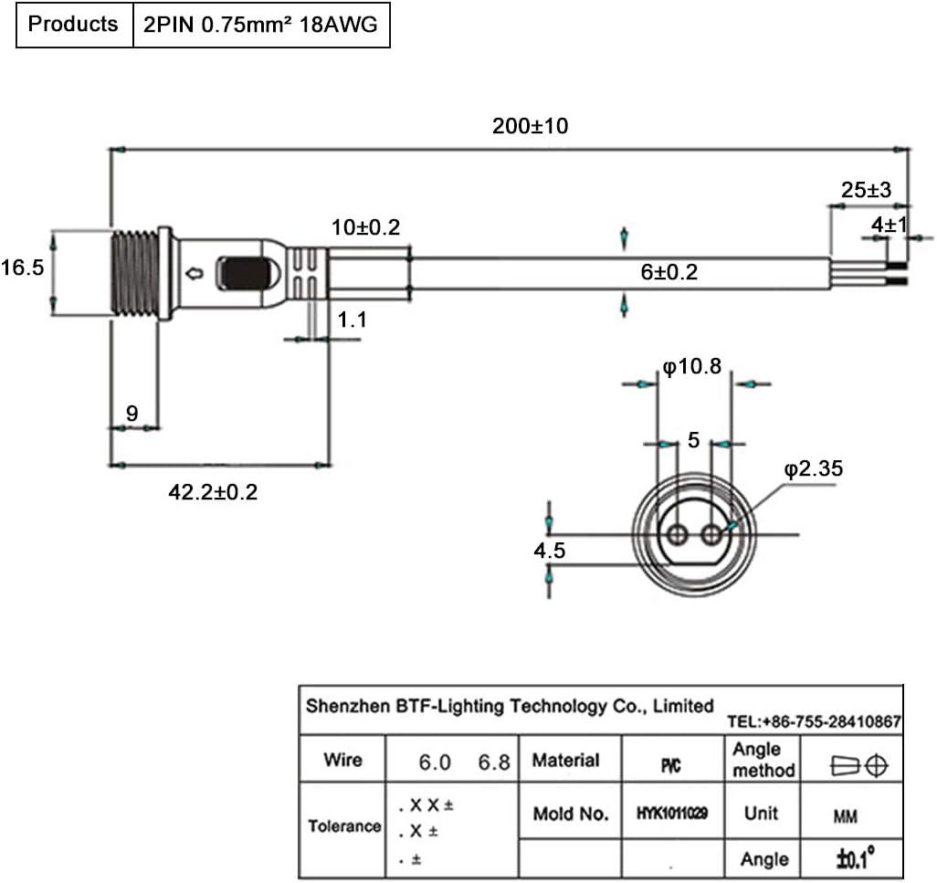paire Applicable /écrou 0.5mm2 22mm BTF-LIGHTING 5pairs 4 NOIR Tresse en plastique imperm/éable connecteur IP65 conduit connecteur pour connecteur femelle m/âle 40cm