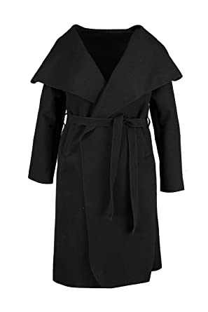 dc0ff3a259b Boohoo Womens Plus Size Leila Wool Look Wrap Coat - Black -  Amazon.co.uk   Clothing