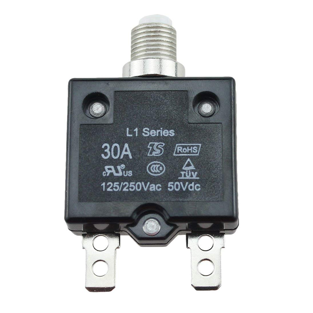 Baynne 5A/10A/15A/20A/30A Circuit Breaker Waterproof Push Button Resettable Thermal Fuse Circuit Breaker Panel Mount
