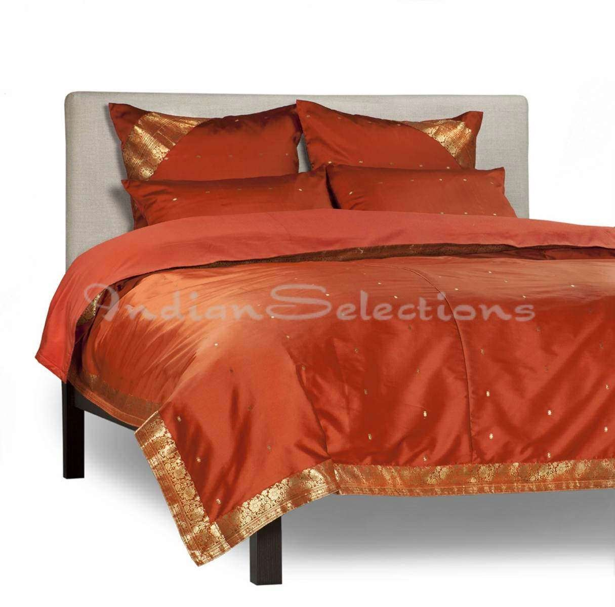 Rust - 5 Piece Handmade Sari Duvet Cover Set with Pillow Covers / Euro Sham - Queen