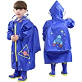 LUCKSTAR Children's Raincoat Waterproof Kids Poncho Teens Rainwear Rain Jacket Girls Boys Raincoat with Hooded & School Bag Cover