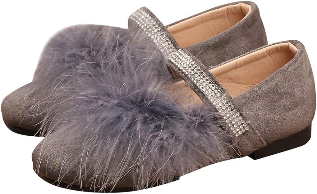 Little Girls Shiny Beads Straps Furry Ballet Flats Slip On Princess Dress Shoes