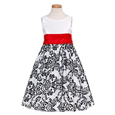 Amazon kids dream white red black flocked flower girl occasion kids dream white red black flocked flower girl occasion dress girls 12 mightylinksfo