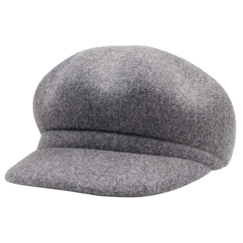 Artists hat Wool Octagonal Hat Female Korean Version of The Literary Fan Simple Wild Color Color Duck Hat Female in hat Color : Gray