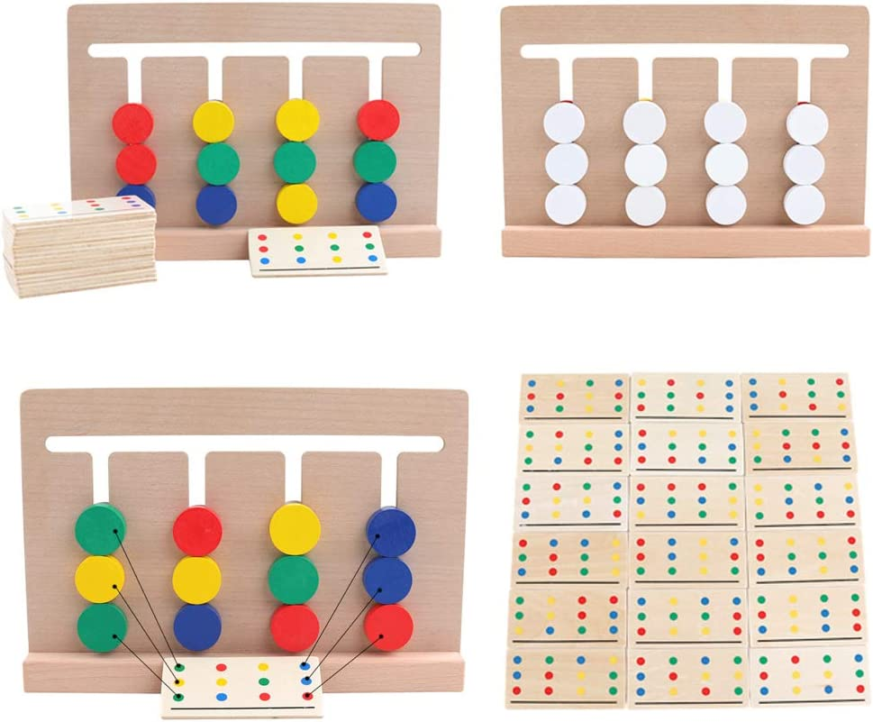 Woqook Brain Game Wooden Kids Wooden Four-Color Game Color Matching Board Toy Early Childhood Education Learning Toys Colorful
