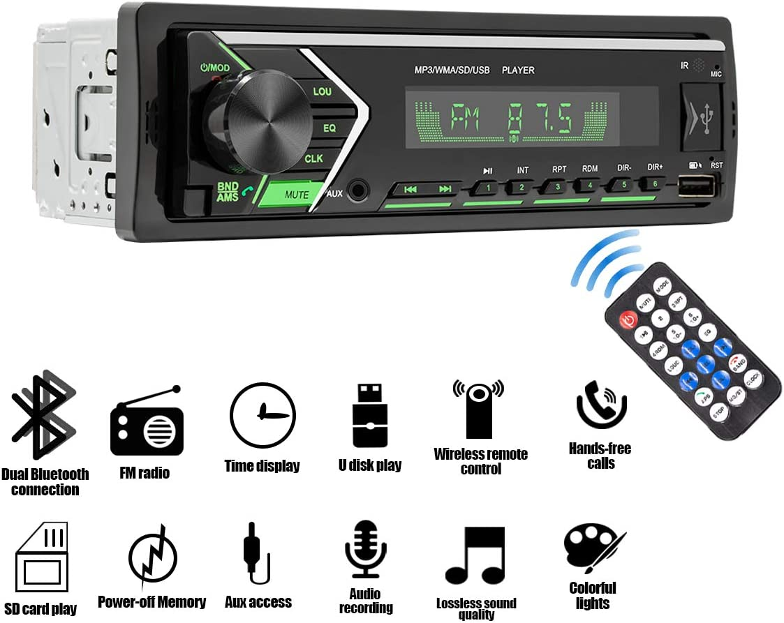 Single Din Car Stereo Receiver with Dual Bluetooth Audio and Hands-Free Calling,FM Radio Receiver,Built-in Microphone,USB//TF Card//Aux-in Wireless Remote Control with 7 Color Backlight