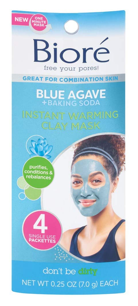 Biore Blue Agave + Baking Soda Clay Mask 4 Count (3 Pack)