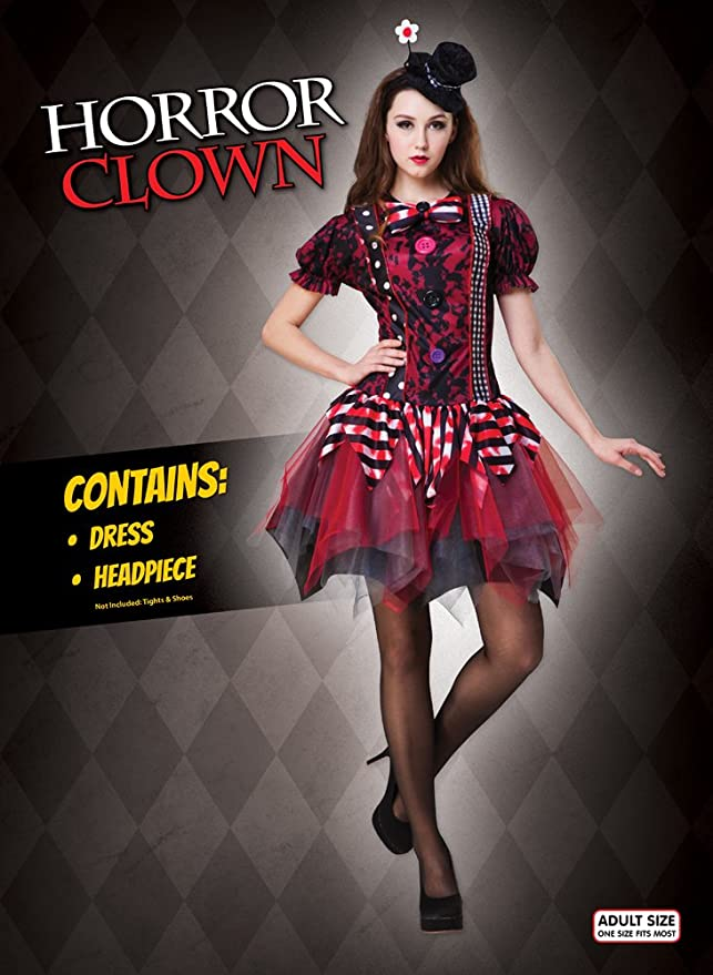 Amazon.com Ladies Halloween Fancy Dress Horror Clown Costume Circus Tricksterina Outfit New Clothing  sc 1 st  Amazon.com & Amazon.com: Ladies Halloween Fancy Dress Horror Clown Costume Circus ...