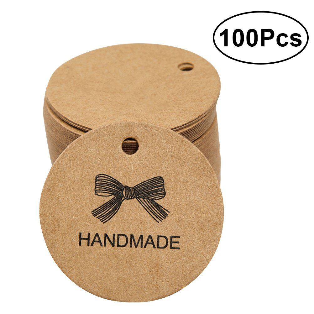 NUOLUX 100pcs Handmade Printed Kraft Paper Party Supply Hang Tags Round Tags Craft Gift Tags