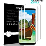 Samsung Galaxy S8 Screen Protector, Vinpie 2 Pack Full Coverage Edge to Edge Curved Tempered Screen Protector for S8, Bubble Free Anti-Scratch/Shatter/Fingerprint