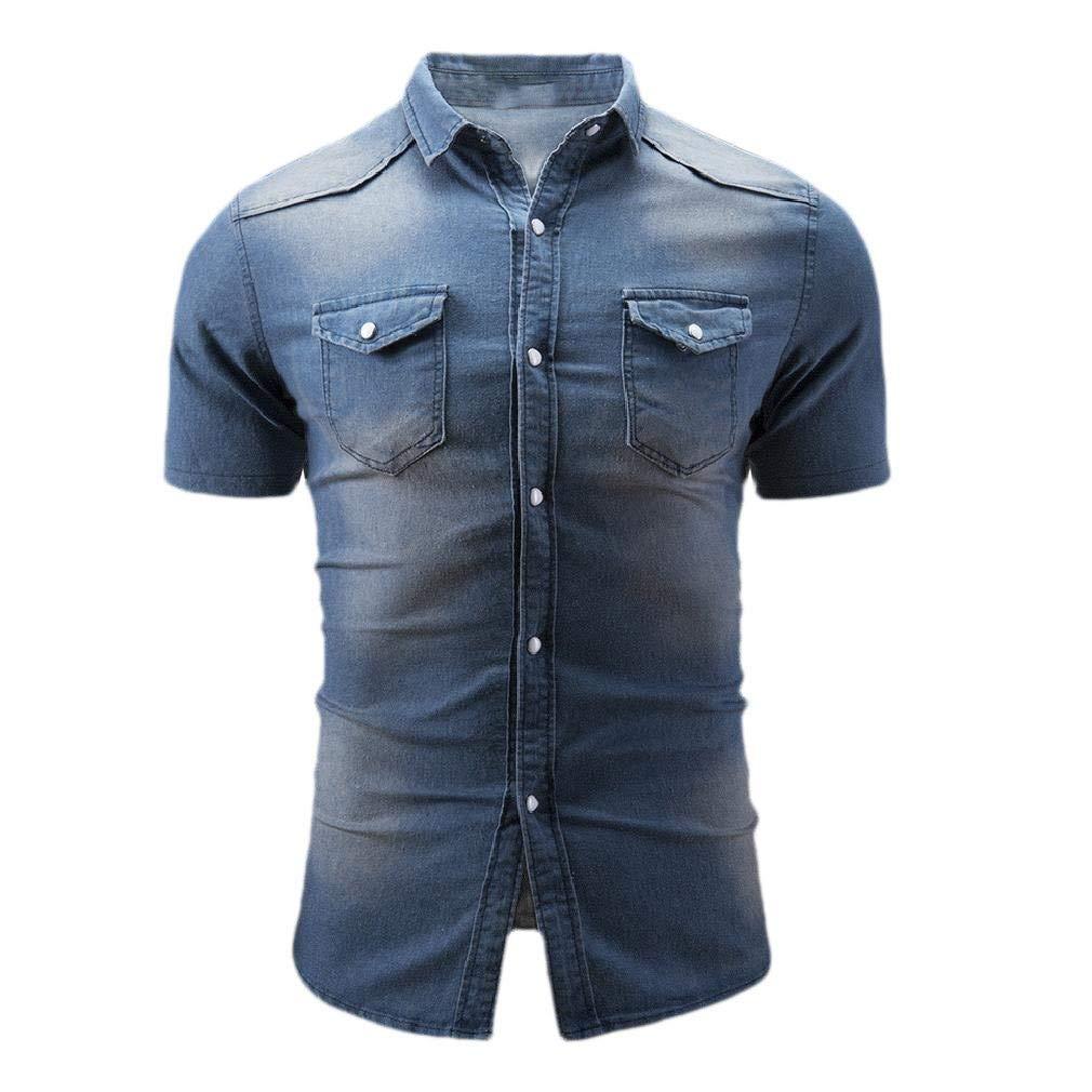 Coolred-Men Washed Blouse Tops Denim Regular Fit Skinny Western Shirt
