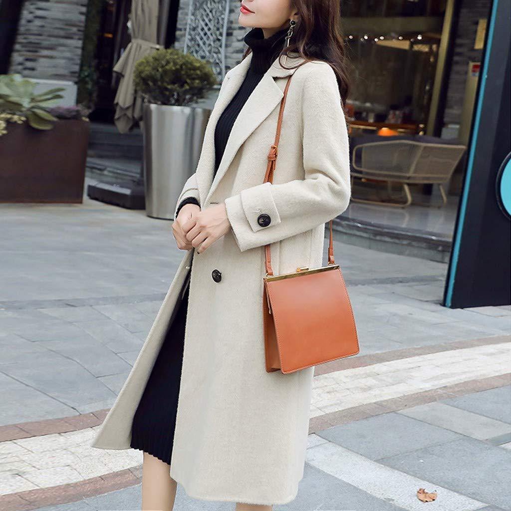 Dainzuy Womens Winter Wool Trench Coat Long Sleeve Lapel Long Pea Coat Double Breasted Warm Wool Trench Overcoat