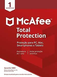 McAfee Total Protection 1 Antivírus – Programa premiado de proteção contra ameaças digitais, programas não desejados, multi plataforma - 1 dispositivo - Cartão