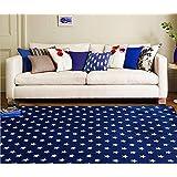 Ustide Dark Blue Modern Carpet Soft Coral Fleece Floor Mat Non Slip White Stars With Blue Backing Large Rug