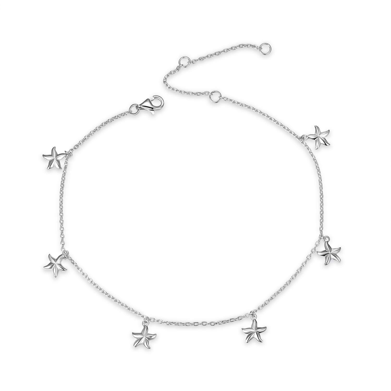 YFN Boho Beach Starfish Ankle Charm Bracelet Sterling Silver Anklet Chain Bracelet Beach Foot Jewelry for Women Little Girls (Starfish Ankle Bracelet)