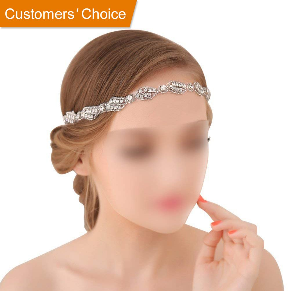 Wedding Headband for Bridal Headpiece Jewelry Handmade Crystal Rhinestone Vintage Beads Satin Ribbon Women Hair Band Accessories BlueTop bridal hair accessories