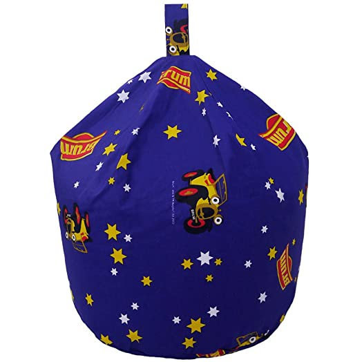 Childrens Cbeebies Brum Navy Blue Yellow Car Seat Chair Bean Bag With Filling