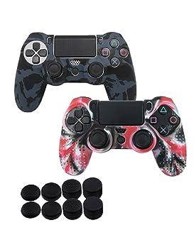 SPDYCESS Fundas Protectores para Mando PS4 Funda Antideslizante de Silicona Camuflaje Carcasa Protectora para el Mando PS4 x2 + FPS Pro Thumb Grip x 8