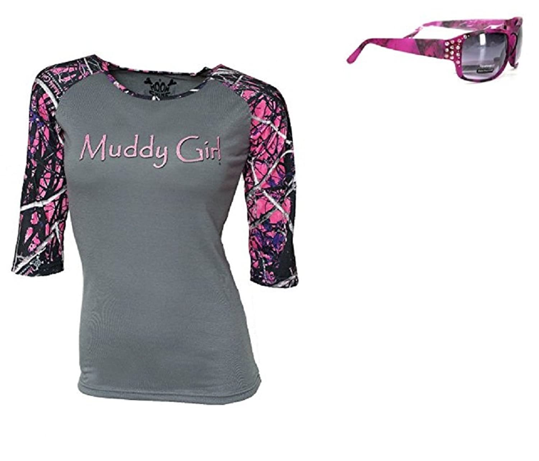 Muddy Girl Purple Pink Camo 3/4 Sleeve Shirt Top Grey Gray + Rhinestone Sunglasses Jp
