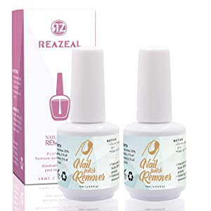 Reazeal 2pcs Magic Nail Polish Remover, Removes Soak-Off Gel Nail Polish, Easily & Quickly,Professional Non-Irritating Nail Polish Remover