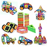 98 PCS Magnetic Blocks with Wheels,Magnetic Building Set,Magnetic Tiles for Kids Toddlers