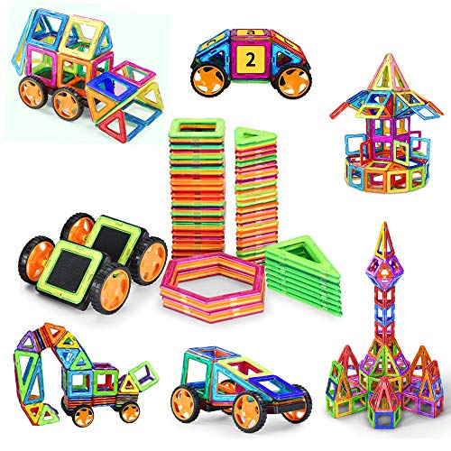 ks with Wheels,Magnetic Building Set,Magnetic Tiles for Kids Toddlers ()