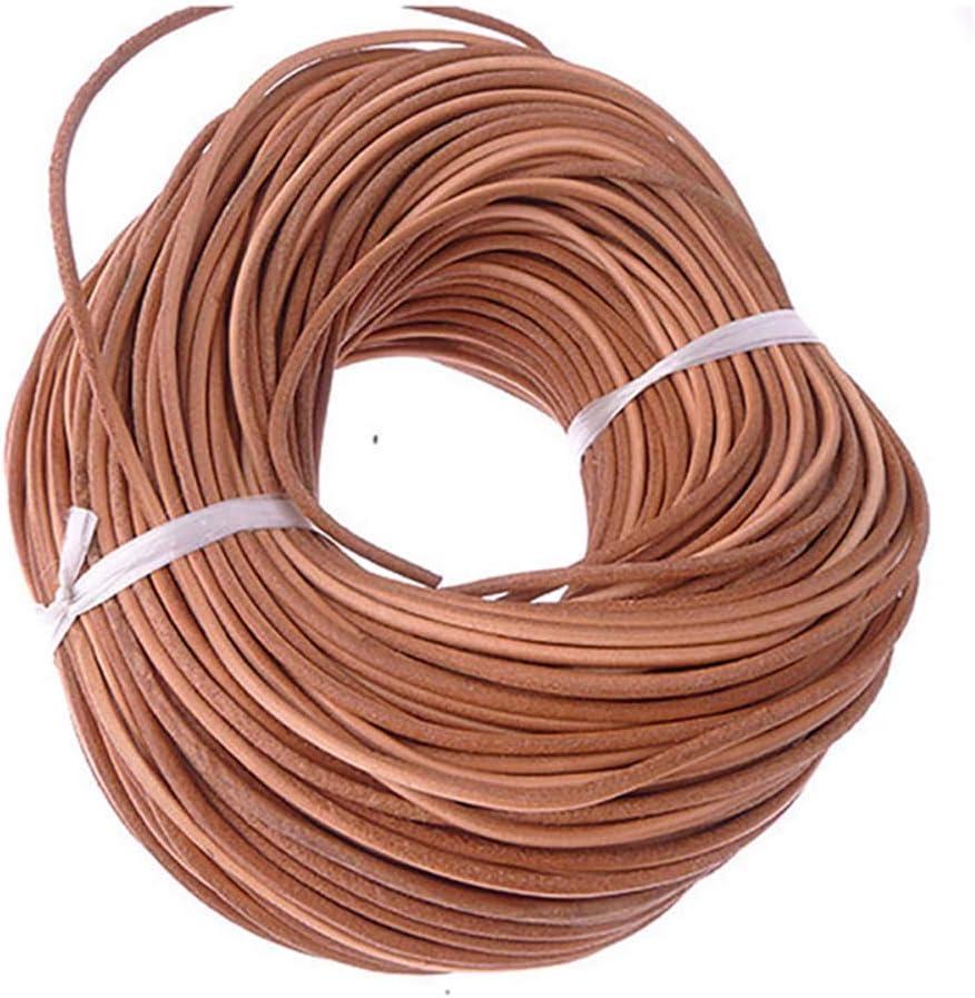MZY1188 Cadena de Cuerda de Cuero sintético de Color Natural de 5 Metros, Cuerda de Cuerda Redonda para Collar de Bricolaje Pulsera Abalorios joyería DIY Manualidades Cuerda diámetro 1/1.5/2 / 3mm