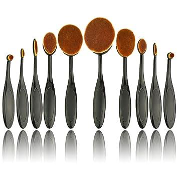 Oval brochas de maquillaje – 10 piezas juego de cepillo de maquillaje profesional con suave oval