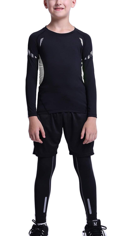 Panegy Boys Base Layer 3PC Set Compression Long Sleeve Shirts Leggings Short Set
