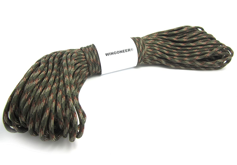 el 100ft cuerda de la supervivencia del paracaídas de Paracord de 550 cuerdas - verde camo WINGONEER®