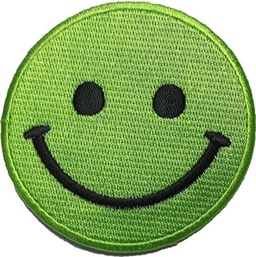 Green Smile Emotion size 2.75inch biker heavy metal Horror Goth Punk Emo Rock DIY Logo Jacket Vest shirt hat blanket backpack T shirt Patches Embroidered Appliques Symbol Badge Cloth Sign - Green Hills Shops Dress