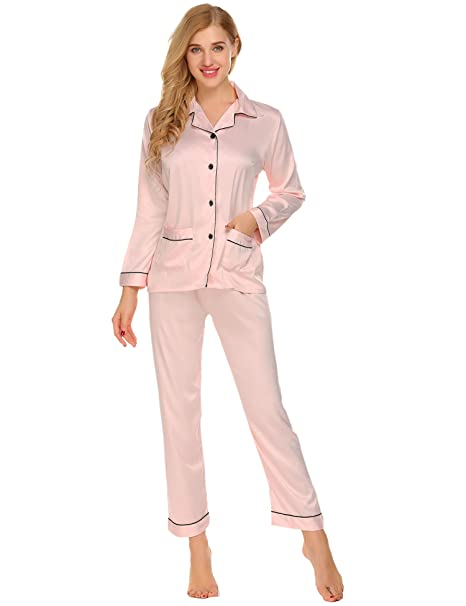856fb6345 LOMON Pajamas for Women v Neck Vintage for Sleep Wedding Bridal Petite  Maternity Pink: Amazon.ca: Clothing & Accessories