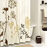 Ashler Waterproof Bathroom Shower Curtain Sets with Plastic Hooks 70/ x 72 inches Brown Dandelion