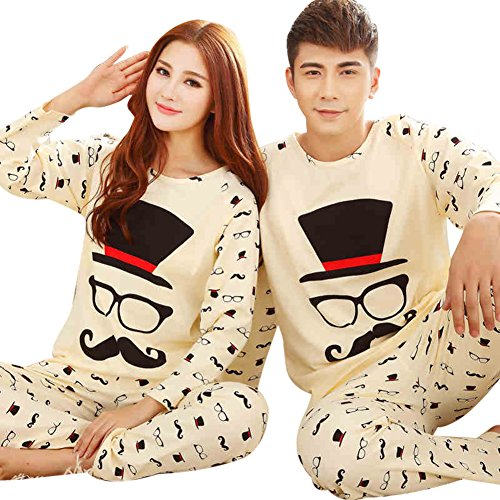 d81a93ba95 Bavijama Cotton Matching Couples Womens Mens Pajamas Set Long Sleeve  Sleepwear Large Womens Beige