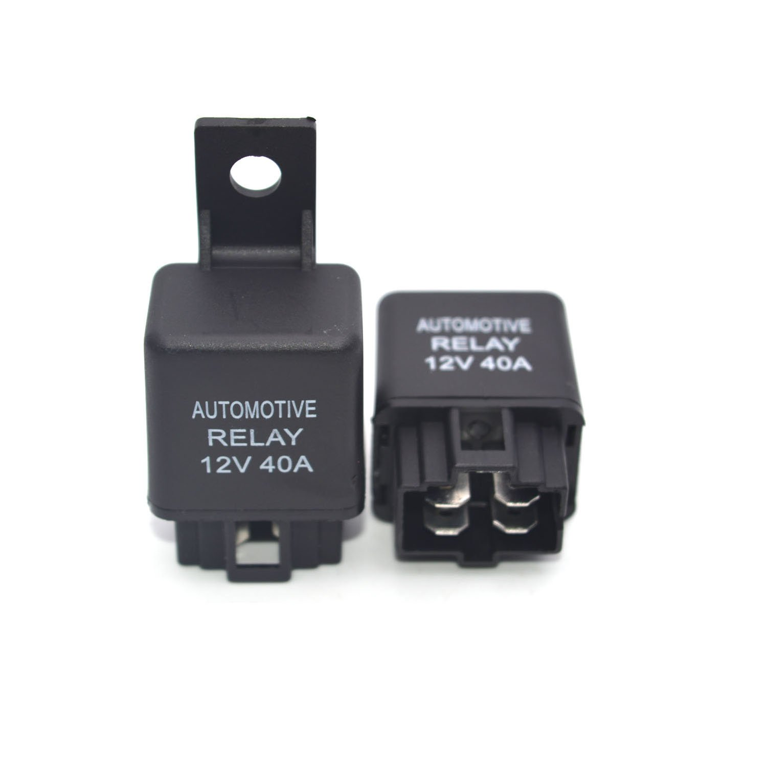 Antrader Car Relay 12V DC 40A 4 Terminal SPST Air Conditioning Fan Fog Lamp Relay 6mm Mounting Hole Socket 2pcs