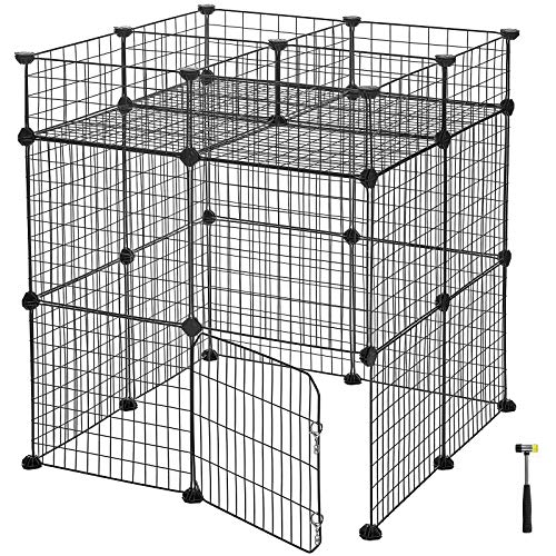 SONGMICS Pet Playpen Includes Zip Ties, Upgrade Customizable Animal Fence with Door, Metal Wire Pen Fence for Small Animals, Bunnies, Rabbits, Puppy Guinea Pigs, for Indoor Use ULPI03H
