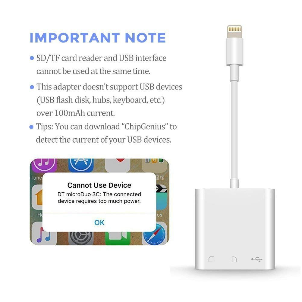 SD Card Reader, Lightning to USB Camera Adapter Memory Card SD/TF Card Reader, Trail Game Camera Adapter for iPhoneX/ 8/ 8plus/ 7/ 7plus/ 6s/ 6s plus/SE/ 5s, iPad Pro/Air/ Mini and iPod by RayCue (Image #7)