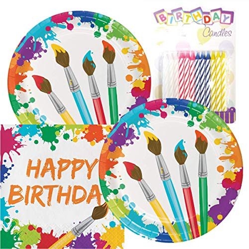 (Art Party Birthday Theme Plates and Napkins Serves 16 with Birthday Candles)