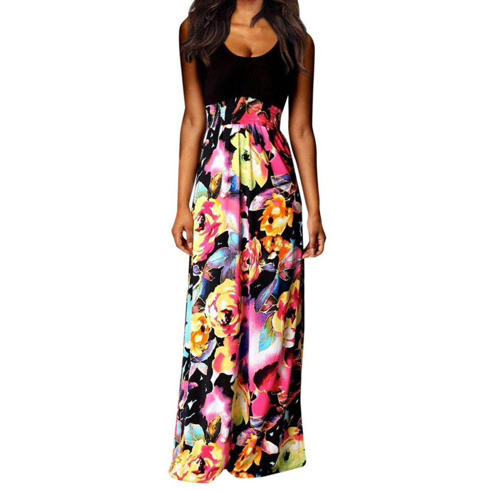 Womola Women Boho Maxi Summer Beach Long Cocktail Party Floral Dress (Black,S)