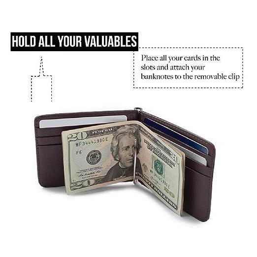 Amazon.com: Slim piel Bifold ID Tarjeta de Crédito cartera ...