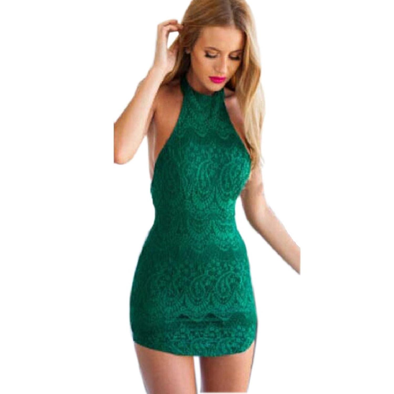 Ukamshop Sexy Frauen hohe Hals Spitze ärmellos Strandkleid rückenfrei Sommerkleid